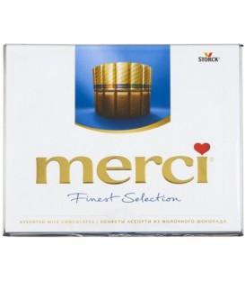 Набор шоколадный конфет Merci 250 г, 4 вида: ореховый крем, молочный шоколад, лесной орех и миндаль, кремовая начинка пралине
