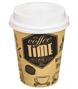 Стакан одноразовый с крышкой для горячих напитков 250 мл, «Кофе тайм»