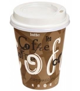 Стакан одноразовый с крышкой для горячих напитков 300 мл, Coffee