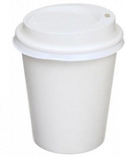 Стакан одноразовый бумажный для горячих напитков «Мистерия» 250 мл, белый с крышкой