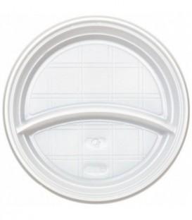 Тарелка одноразовая пластиковая «Мистерия» двухсекционная, диаметр 20,5 см, белая