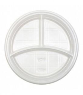 Тарелка одноразовая пластиковая «Мистерия» трехсекционная, диаметр 20,5 см, белая