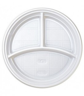 Тарелка одноразовая пластиковая трехсекционная, диаметр 20,5 см, белая
