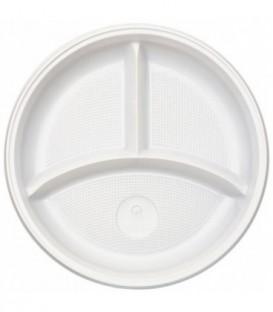 Тарелка одноразовая пластиковая трехсекционная, диаметр 22 см, белая