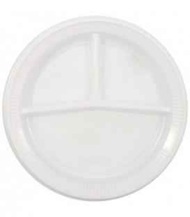 Тарелка одноразовая пластиковая трехсекцонная, диаметр 21 см, белая
