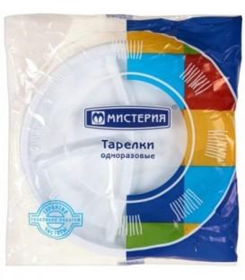 Набор тарелок одноразовых «Мистерия» 12 шт., диаметр 21 см, трехсекционные, белые