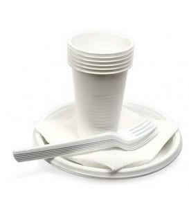 Набор посуды одноразовой «Шашлычок» 6 персон, 24 предмета, белый