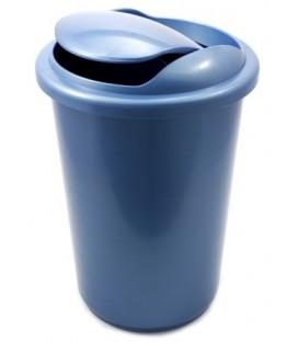 Корзина для бумаг цельная с крышкой 12 л, синяя