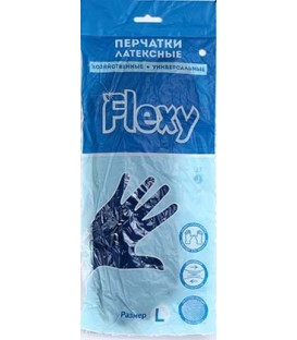 Перчатки латексные хозяйственные Flexy Gloves размер L, синие