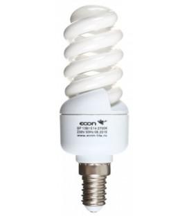 Лампа энергосберегающая Econ 13Вт, 230-240V, 2700К (теплый свет), цоколь E14