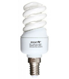 Лампа энергосберегающая Econ 11Вт, 230-240V, 4200К (дневной свет), цоколь E14