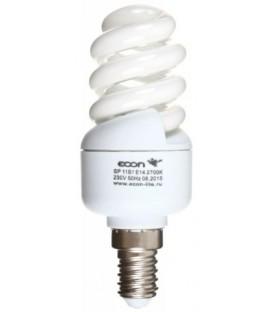 Лампа энергосберегающая Econ 11Вт, 230-240V, 2700К (теплый свет), цоколь E14