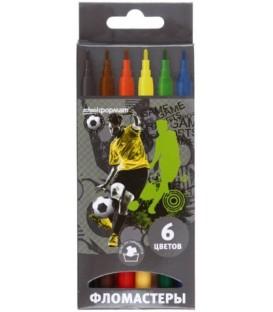 Фломастеры «Футбол» 6 цветов, толщина линии 1-2 мм, вентилируемый колпачок