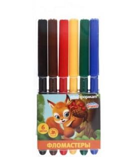 Фломастеры «Пушистые зверята» 6 цветов, толщина линии 1-2 мм, вентилируемый колпачок