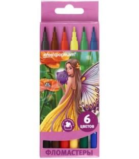Фломастеры «Цветочные феи» 6 цветов, толщина линии 1-2 мм, вентилируемый колпачок