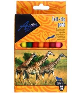 Фломастеры Africa 18 цветов, толщина линии 2 мм, вентилируемый колпачок