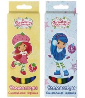 Фломастеры смываемые Strawberry Shortcake 6 цветов, толщина линии 1-2 мм, вентилируемый колпачок, ассорти (цена за 1 набор)