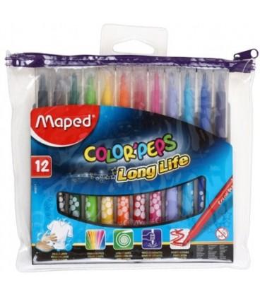 Фломастеры Maped Color Peps 12 цветов, толщина линии 1-3 мм, вентилируемый колпачок, в ПЭТ-пенале
