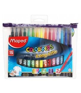 Фломастеры Maped Color Peps 15 цветов, толщина линии 1-3 мм, вентилируемый колпачок, в ПЭТ-пенале