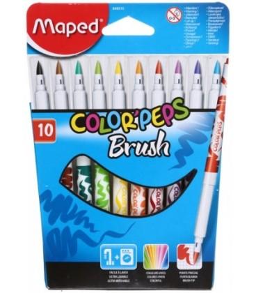 'Фломастеры Maped Color''Peps Brush 10 цветов, толщина линии письма 1-3 мм, вентилируемый колпачок'