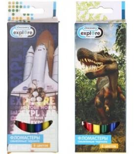 Фломастеры Discovery 6 цветов, толщина линии 1-2 мм, вентилируемый колпачок, ассорти (цена за 1 набор)