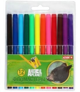 Фломастеры Animal Planet 12 цветов, толщина линии 1-2 мм, вентилируемый колпачок
