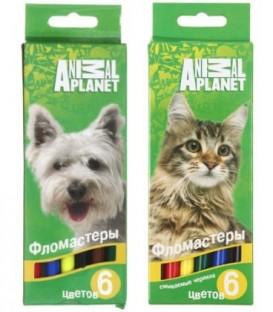 Фломастеры Animal Planet 6 цветов, толщина линии 1-2 мм, вентилируемый колпачок, ассорти (цена за 1 набор)