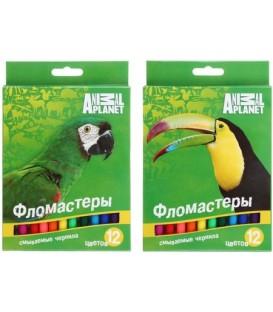 Фломастеры Animal Planet 12 цветов, толщина линии 1-2 мм, вентилируемый колпачок, ассорти (цена за 1 набор)