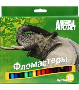 Фломастеры Animal Planet 18 цветов, толщина линии 1-2 мм, вентилируемый колпачок