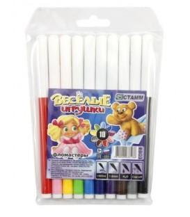 Фломастеры «Веселые игрушки» 10 цветов, толщина линии 1 мм, вентилируемый колпачок