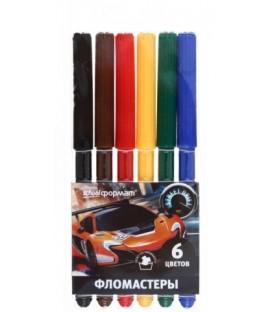Фломастеры «Мир скорости» 6 цветов, толщина линии 1-2 мм, вентилируемый колпачок