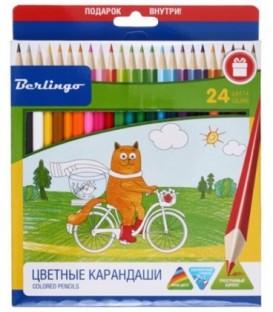 Карандаши цветные «Жил-был кот» 24 цвета, длина 175 мм