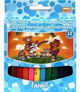 Карандаши-мини цветные Fancy 12 цветов, длина 85 мм, ассорти