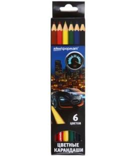 Карандаши цветные «Мир скорости» 6 цветов, длина 175 мм