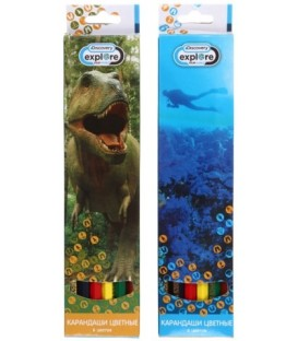 Карандаши цветные Discovery 6 цветов, длина 175 мм, ассорти