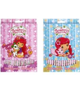 Карандаши цветные Strawberry Shortcake 18 цветов, длина 175 мм, ассорти