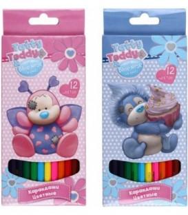 Карандаши цветные Tatty Teddy - my Blue Nose friends 12 цветов, длина 175 мм, ассорти