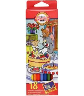 Карандаши цветные «Том и Джерри» 18 цветов, длина 175 мм
