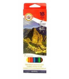 Карандаши цветные Koh-I-Noor 18 цветов, длина 175 мм, «7 Чудес света»