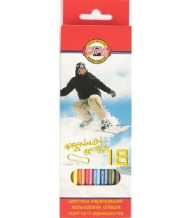 Карандаши цветные Koh-I-Noor 18 цветов, длина 175 мм, «Спорт»
