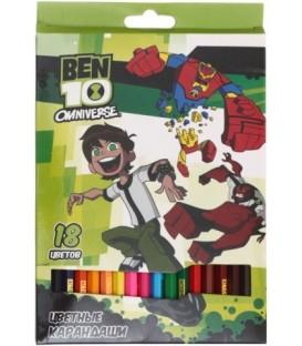 Карандаши цветные Ben10 18 цветов, длина 175 мм