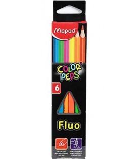 Карандаши цветные флуоресцентные Color Peps Fluo 6 цветов, длина 175 мм