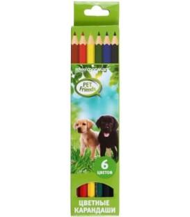 Карандаши цветные «Любимые питомцы» 6 цветов, длина 175 мм
