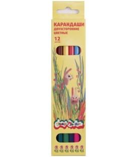 Карандаши цветные двусторонние «Каляка-Маляка» 12 цветов, 6 шт., длина 175 мм