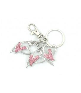 Брелок сувенирный «Сердце», с розовыми стразами