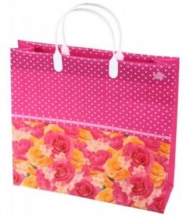 Пакет подарочный «ТИКО-Пластик» 30*28 см, «Розы в горошек»