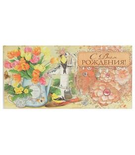 Открытка-конверт поздравительная Fiesta 85*165 мм, «С Днем Рождения» (птички, цветы)