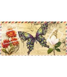 Открытка-конверт поздравительная 86*170 мм, «Бабочка»