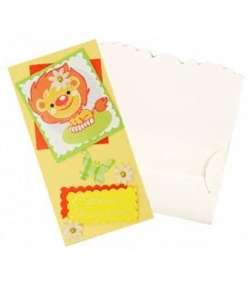 Открытка-конверт ручной работы поздравительная 80*160 мм, «С днем рождения!» (львенок)