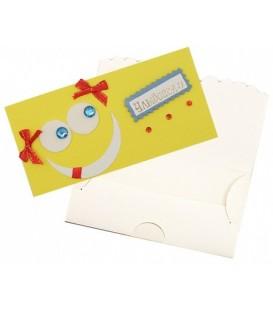 Открытка-конверт ручной работы поздравительная 80*160 мм, «Улыбайся!» (смайл на желтом)